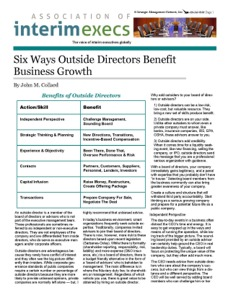 Benefits of Outside Directors by John M. Collard, Strategic Management Partners, Inc.,  published by ABF Journal