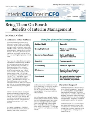 Benefits of Interim Management, C-Level Executives Can Make the Difference, 